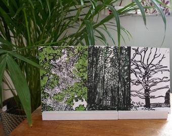 Lockdown Walks One, Original Nature Lino Prints