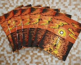MerMay Sunset Original Lino Prints
