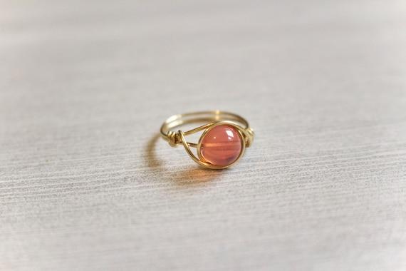 Draht umwickelt Ring Golddraht Ring gold Ring Rosa | Etsy