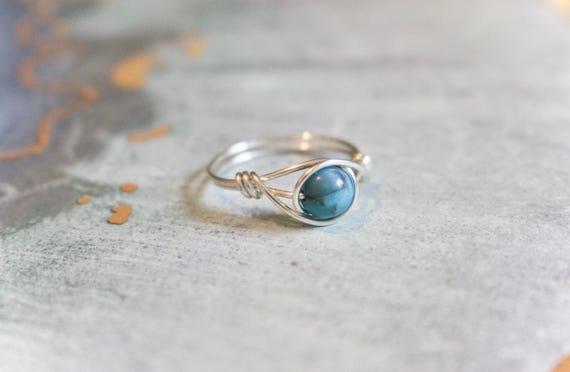 Draht umwickelt Ring Türkis-Stein-Ring Drahtring | Etsy