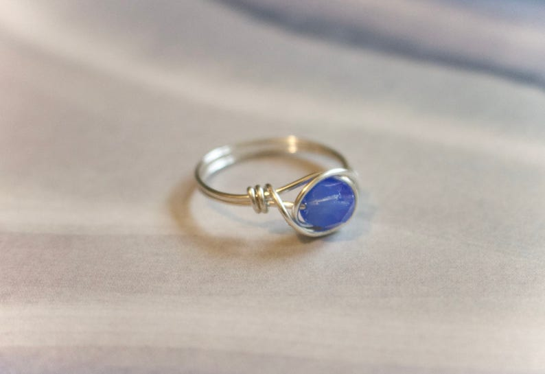 Blue stone wire ring dainty wire ring silver wire ring blue stone ring custom ring gold ring wire wrapped ring blue gemstone ring