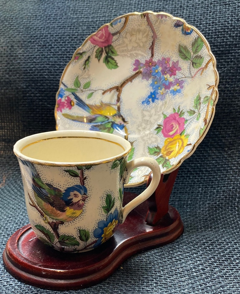Vintage A J Wilkinson Gold Trim Tea Cup and Saucer Display Stand NOT Included