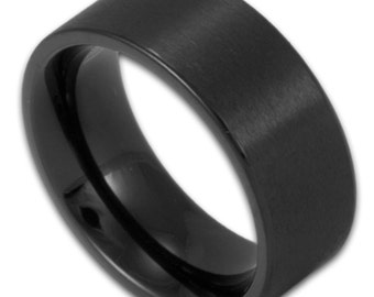 9660dcc28 8MM Wide Matte Black Stainless Steel Ring Men's Pipe Cut Wedding Band  Custom Engraved Gothic Promise Ring
