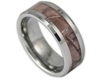 8MM Wide Mens Tree Camo Tungsten Wedding Ring Camouflage Promise Band with Engraving