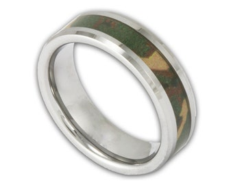 6MM Woodland Camouflage Tungsten Wedding Ring Men's or Women's Camo Band for Hunters with Free Inside Custom Engraving