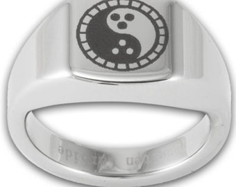 Dudeism Tungsten Signet Ring Laser Engraved Dudeism Symbol Mens Band