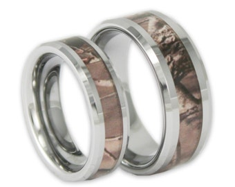 Couples Tree Camo Wedding Ring Set His and Hers Matching Camouflage Tungsten Bands with Inside Engraving