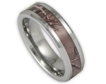 6MM Wide Mens or Womens Tree Camo Tungsten Ring Unisex Camouflage Promise Band with Engraving