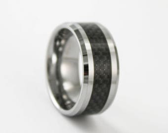 10MM Wide Tungsten and Black Carbon Fiber Ring Mens Wedding Ring or Promise Band with Free Inside Custom Engraving