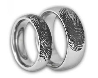 Couples Custom Engraved Tungsten Fingerprint Rings His and Hers Matching Wedding Bands Personalized Also Available in Gold & Rose Gold Color
