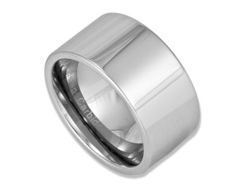 12MM Wide Tungsten Ring Mens Wedding Band or Promise Ring with Custom Engraving