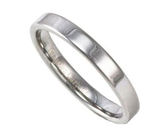 3MM Width Women's Flat Tungsten Ring Custom Engraved Pipe Cut Wedding Band