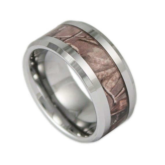 10mm Wide Mens Tree Camo Tungsten Wedding Ring Camouflage Etsy