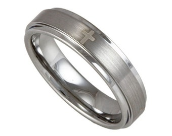 5MM Wide Stepped Edge Tungsten Ring with four Christian crosses and FREE Inside Engraving
