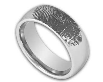 Mens 8MM Wide Tungsten Wedding Ring Engraved Fingerprint Promise Band Domed Available in Whole and Half Size 7-15
