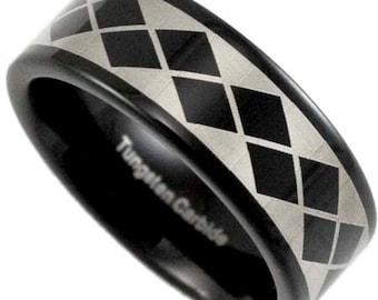 8MM Black Tungsten Wedding Band Argyle Style Men's Promise Ring w/ Inside Custom Engraving