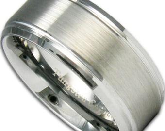 9MM Stepped Edge Tungsten Ring Mens Wedding Band Free Custom Inside Engraving