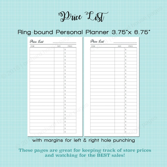 price list tracker personal size rings grocery shopping etsy