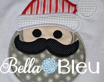 Machine embroidery designs, Embroidery Christmas, Applique Designs, PES files, Santa with Mustache