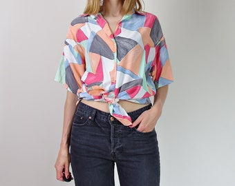 80s New Fast colorful pastel oversized women top shirt