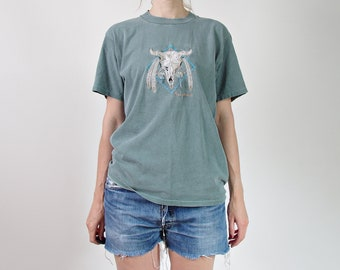80s Arizona western cow soft threadbare muted green t-shirt