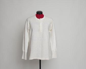 1950s Wool cotton henley thermal shirt, Off white long sleeve undershirt by Janus, Men's wool blend knit underwear, Size 50