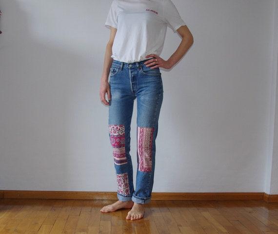80s Levis 501 Patched Jeans, Vintage Hippie Levis