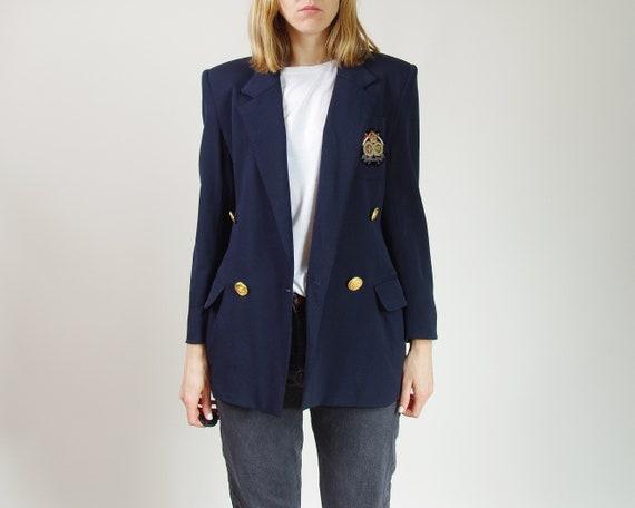 80s Wool college jacket women, Vintage gold button