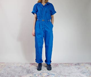 Vintage Toppmaster Workwear Coveralls, Short Sleeve Work Jumpsuit, Blue Boiler Suit Made in USA