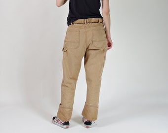 Vtg Dickies carpenter workwear canvas pants / faded toffee cotton pants waist 36