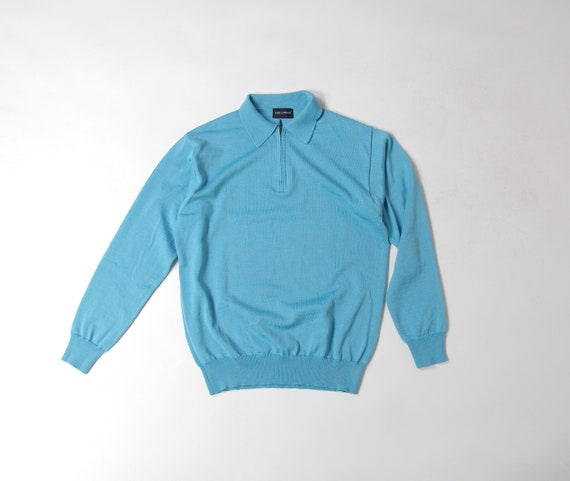 Vintage Half-Zip Polo Sweater, Mod Style Mens Swea