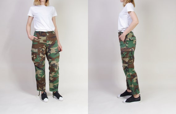 80s Army Cargo Pants, Vintage Woodland Camouflage