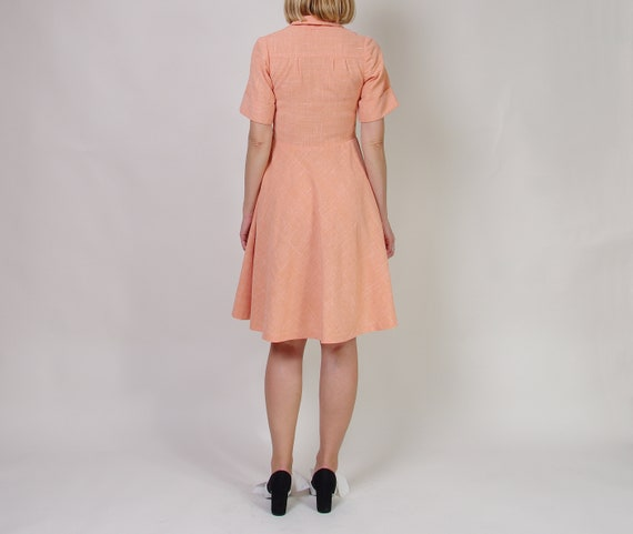 40s 50s Peach day dress, Collared midi dress, Pol… - image 3