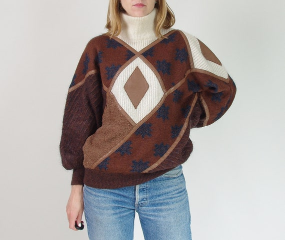 80s Patchwork Mohair Sweater, Vintage Super Kid Mo