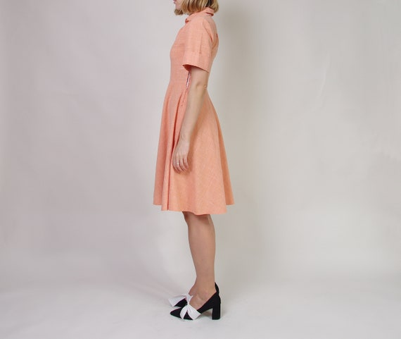 40s 50s Peach day dress, Collared midi dress, Pol… - image 2