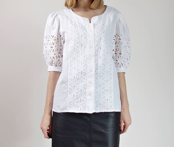 70s eyelet shirt folk linen bohemian White womens 6az6wqr