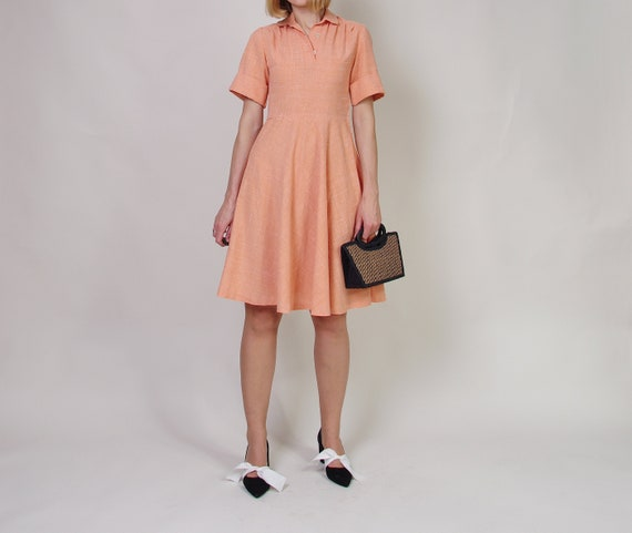 40s 50s Peach day dress, Collared midi dress, Pol… - image 1