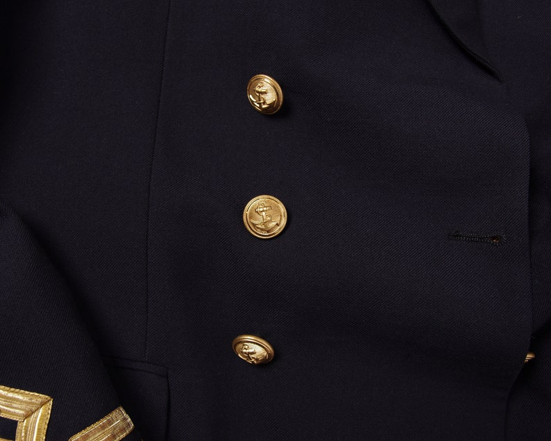 Nautical double breasted suit jacket Cohen /& Zoon Rotterdam 70s Dutch Navy captain jacket by Jos Vintage Dutch Navy Army sailor jacket