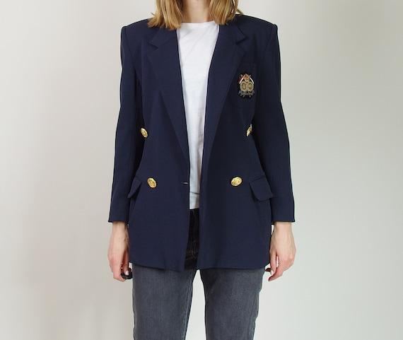 Vintage 80s Wool College Jacket, Power Shoulder Ja