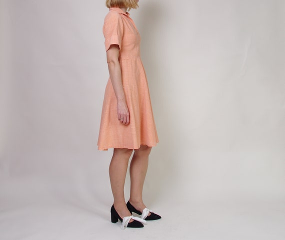 40s 50s Peach day dress, Collared midi dress, Pol… - image 6