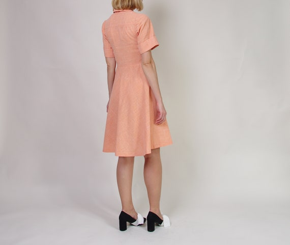 40s 50s Peach day dress, Collared midi dress, Pol… - image 5