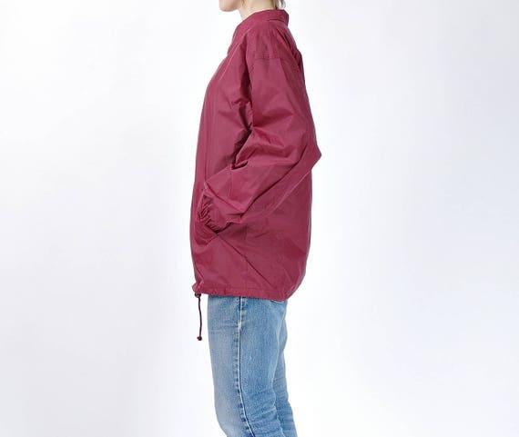 Vintage 90s Coach Jacket, 90s Workwear Nylon Jacket, Dea Style Burgundy Jacket, Size M