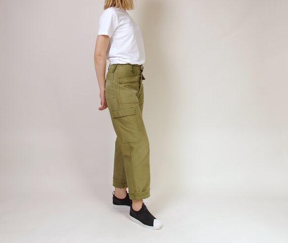 70s Army Cargo Pants, Vintage High Waisted Militar