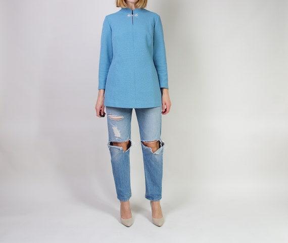 60s Asian Style Mod Blouse, Vintage Cheongsam Styl