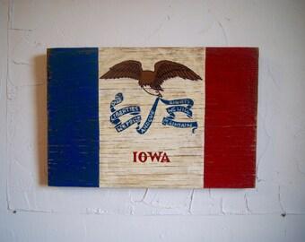 Iowa State Wood Flag Sign - Iowa sign - flag sign - outdoor Iowan sign - outdoor wooden flag - hawkeye sign - state flag - Iwoan flag