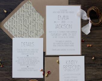 Rustic Modern Chic Wedding Invitation, Simple & Elegant