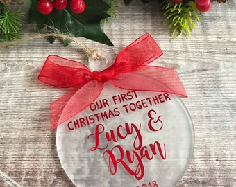 our first christmas together personalised christmas ornament decoration romantic couples gift