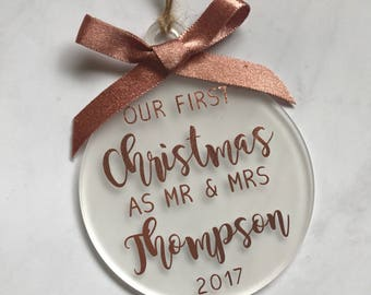 Our First Christmas As Mr & Mrs • Rose Gold • Personalised Christmas Ornament Decoration • Wedding Gift