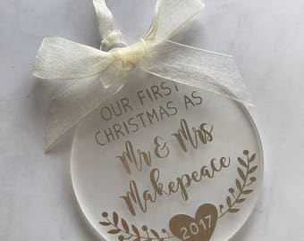 Our First Christmas As Mr & Mrs • Personalised Christmas Ornament Decoration • Wedding Gift