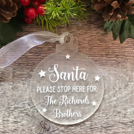 Santa please stop here personalized christmas handmade gold plaque with glitter